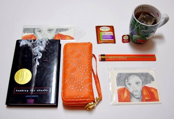 Looking for Alasks, Twinings Tea, orange wristlet, Orange Boy one notecard and bookmark
