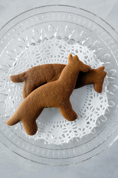 German Shepherd gingerbread cookies plated