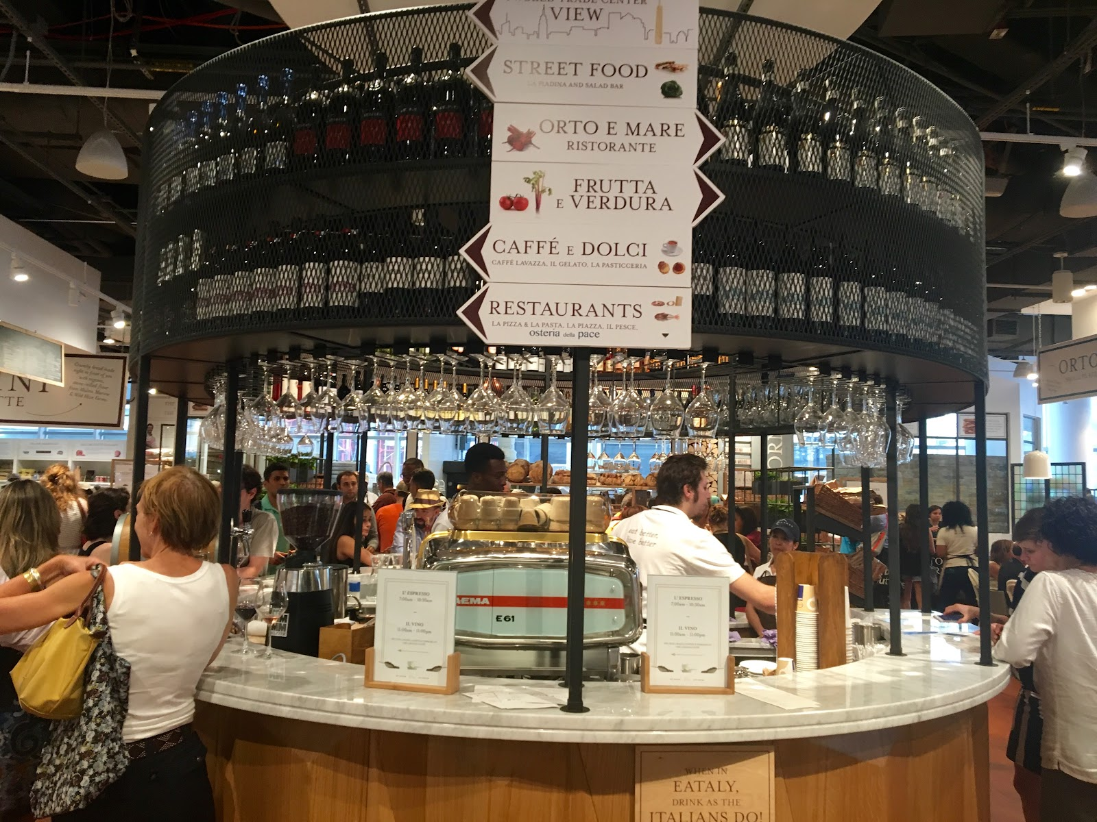 L Espresso Il Vino This Gorgeous Circular Bar Is The Very First Stopping Point When Coming Off Escalator Most People Never Realize It S Okay To
