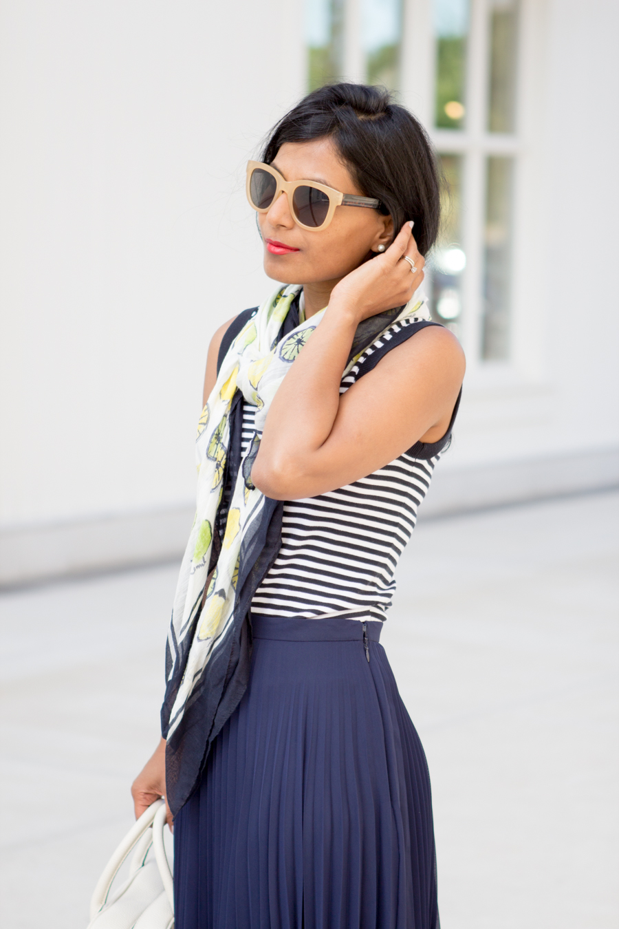 Work Style Navy Skirt Stripes and Lemon Lime