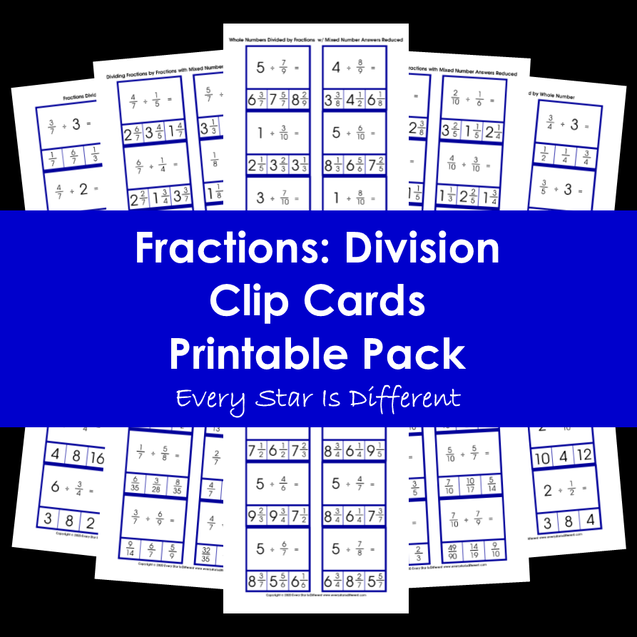 Fractions: Division Clip Cards Printable Pack