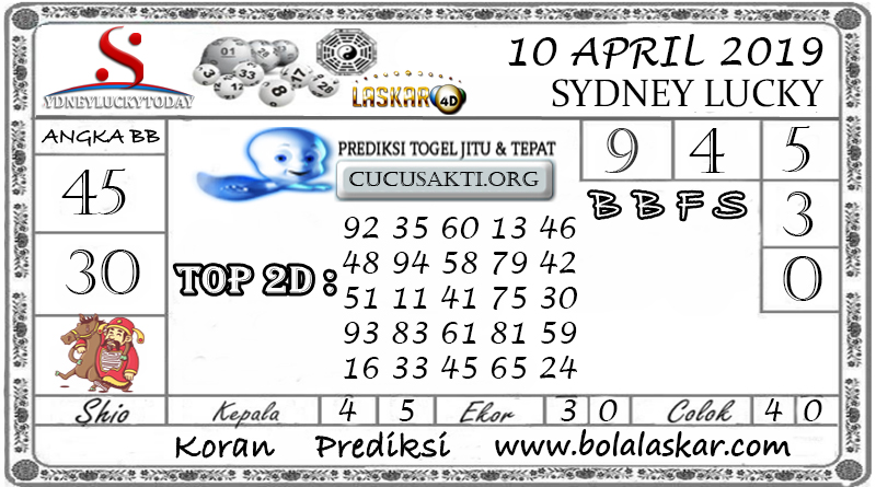 Prediksi Togel SYDNEY LUCKY TODAY LASKAR4D 10  APRIL 2019
