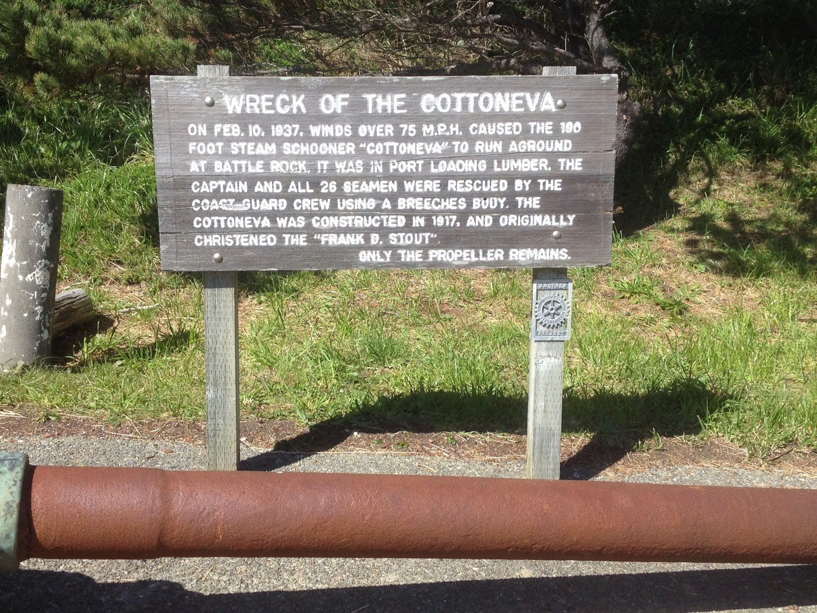 Sign Board Tells of the wreck of the schooner Cotteneva