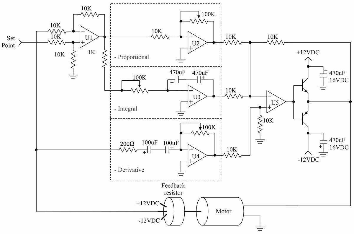 This schematic is an adaptation of the PID controller presented by  Professor Jacob in his book, Industrial Control Electronics. This type of  system has the ...