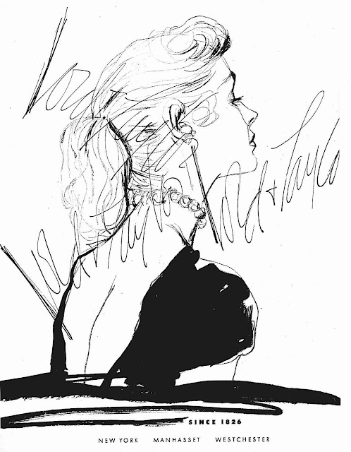 a 1948 fashion illustration by Dorothy Hood, a woman in profile