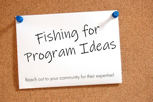 Fishing for Program Ideas - card tacked on corkboard