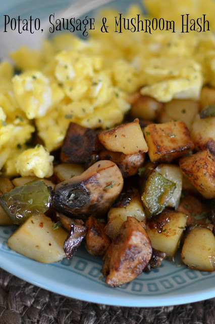Potato, Sausage and Mushroom Fried Breakfast Hash Recipe from Hot Eats and Cool Reads! Great for breakfast, brunch, lunch or dinner! Ready in less than 30 minutes including prep time! Serve with scrambled eggs on the side or a delicious over easy egg on top!