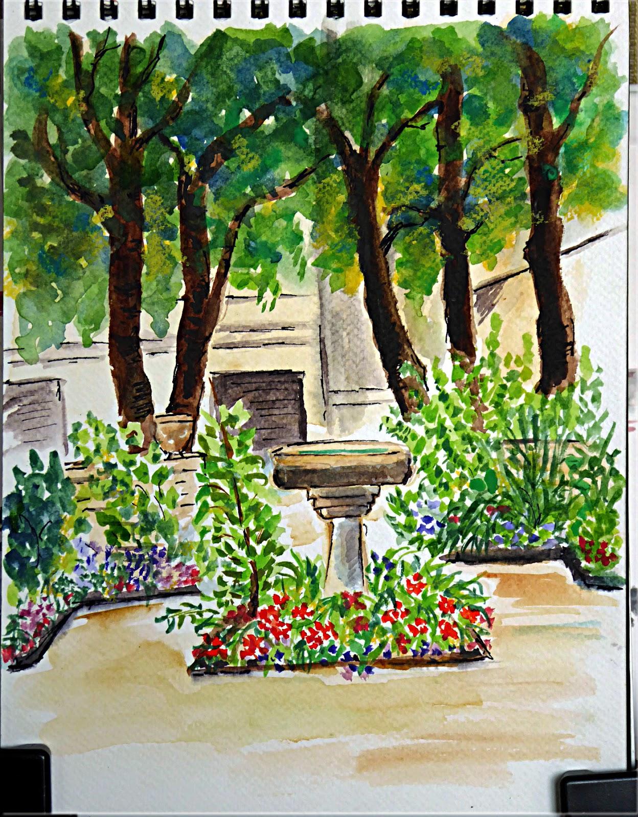 Art de vivre la peinture de peintrefiguratif croquis au jardin clos des blancs manteaux - Jardin du clos des blancs manteaux ...