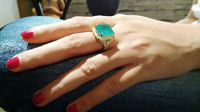 Nhẫn nữ vàng 18k đá Emerald thiên nhiên