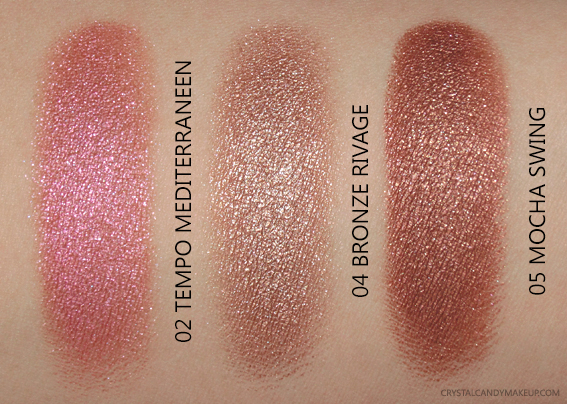 Lancôme Le Metallique Liquid Eyeshadows Swatches 02 Tempo Mediterraneen 04 Bronze Rivage 05 Mocha Swing