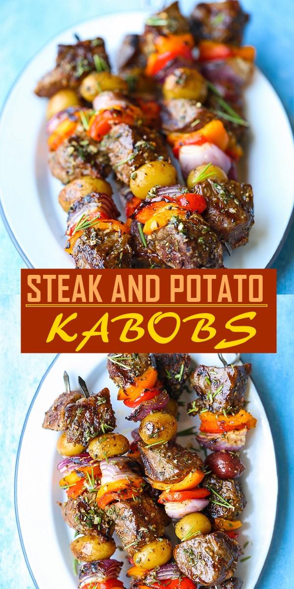 STEAK AND POTATO KABOBS #chickenrecipes