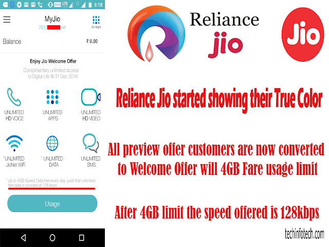 Reliance Jio started showing their True Color, All Preview offer customers converted to Welcome Offer Plan with usage limit