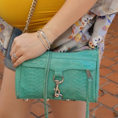 Away From Blue | Rebecca Minkoff mini MAC with python embossed leather in aquamarine