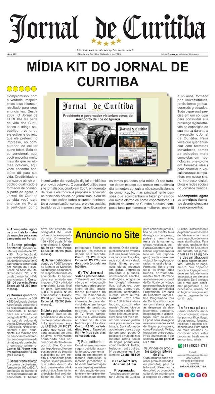 Mídia Kit do Jornal de Curitiba