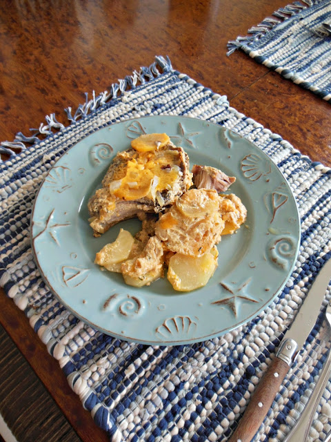 Scalloped Potatoes and Rutabaga with Pork Chops Thyme and Cheddar Cheese
