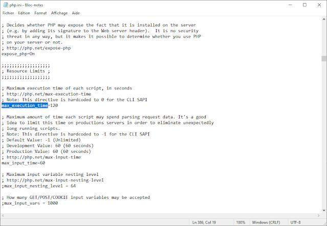 La valeur max_execution_time dans Bloc-notes