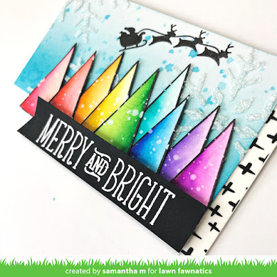 Merry & Bright Rainbow Christmas Trees Card by Samantha Mann, Lawn Fawnatics Challenge, Lawn Fawn, Distress Inks, Ink Blending, Stencil, embossing paste, Cards, Handmade Cards, #lawnfawn #lawnfawnatics #cards #christmas #handmade Cards #trees