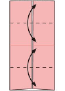 Bước 3: Gấp tạo nếp gấp tờ giấy tại nét đứt.