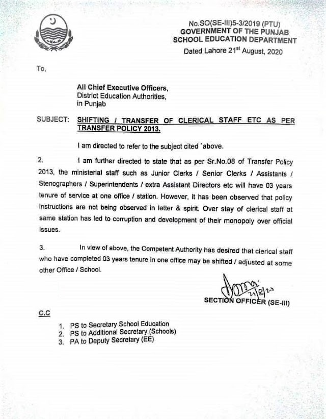 SHIFTING / TRANSFER OF CLERICAL STAFF AS PER TRANSFER POLICY