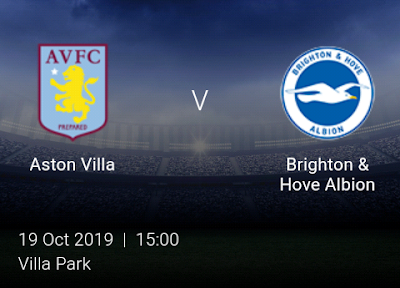 LIVE MATCH: Aston Villa Vs Brighton Premier League 19/10/2019