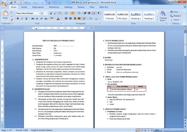 RPP IPA Kelas 8 SMP Kurikulum 2013 Lengkap dengan Perangkat Pembelajaran lainnya