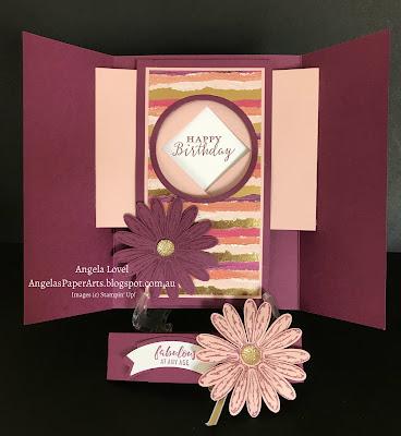 SU daisy gatefold shutter card by Angela Lovel, AngelasPaperArts.blogspot.com.au