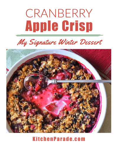 Cranberry Apple Crisp ♥ KitchenParade.com, my signature dessert during cold weather. A classic sweet apple crisp, punched up cranberries and brandy-soaked currants, bright with citrus and ginger.