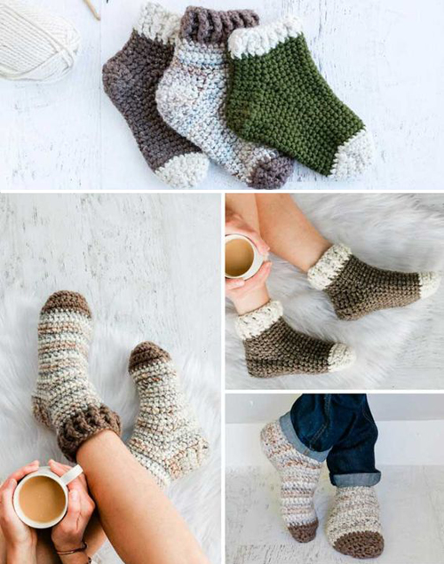 Snuggly Crochet Slipper Socks For Adults - Free Pattern