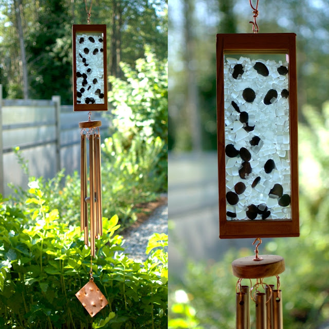 Frosty glass 'ice' cubes with black beach stones wind chime