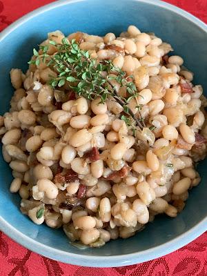 white beans, thyme, pesto, onion, garlic