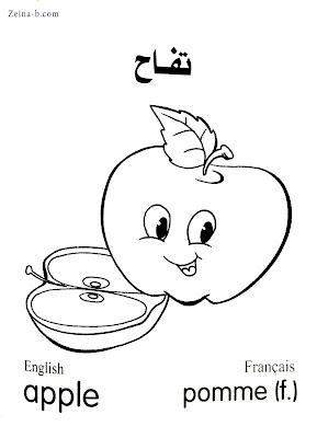 رسومات فاكهة - تفاح Apple - Pomme