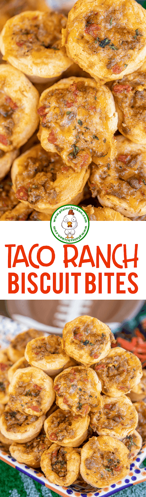 collage of 2 photos of taco ranch biscuit bites