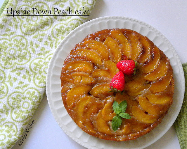Upside Down Peach Cake (Low Fat), Eggless cake