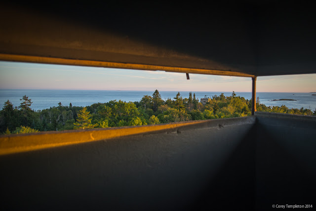 Portland, Maine Photo by Corey Templeton. A Thursday throwback to August 2014. Looking towards the depths of Casco Bay from one of the World War II-era submarine towers on Jewell Island.