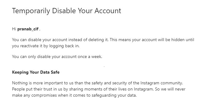disable instagram