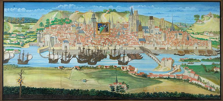 Grande Vue de Rouen extraite du livre des Fontaines