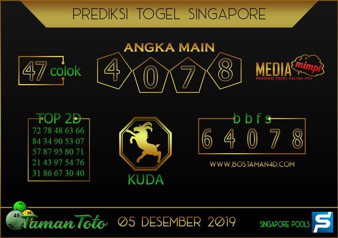 Prediksi Togel SINGAPORE TAMAN TOTO 05 DESEMBER 2019