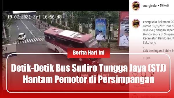 Detik-detik Bus Sudiro Tungga Jaya (STJ) Hantam Pemotor di Persimpangan
