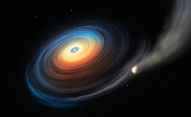 Ilustração mostra a anã branca WDJ0914+1914 e o seu exoplaneta do tipo de Netuno