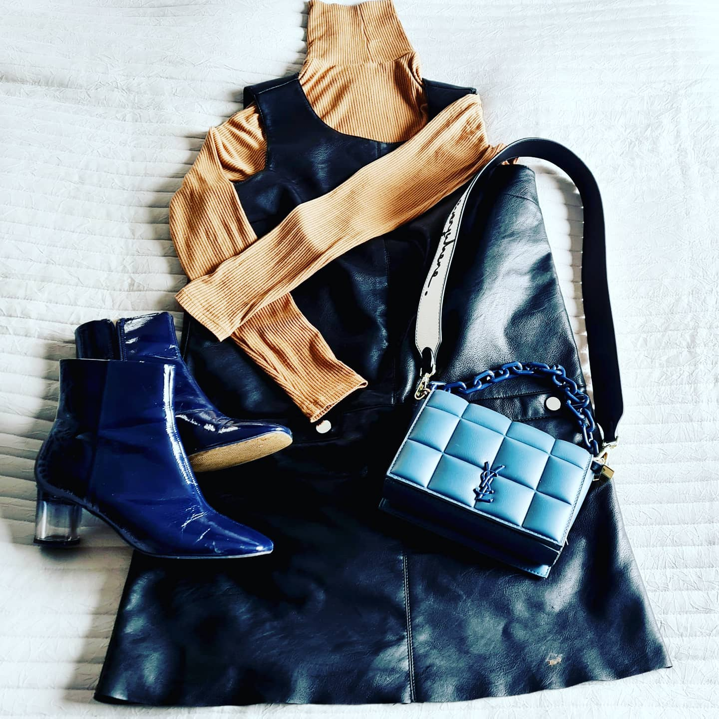 Outfit working mum style leather pinafore dress rollneck