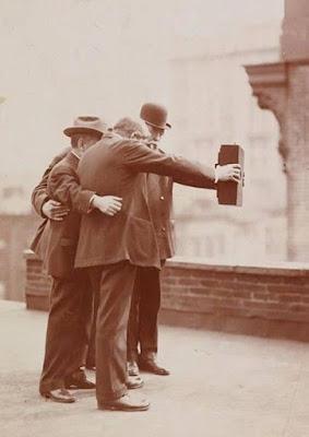selfie of 3 man in 1920