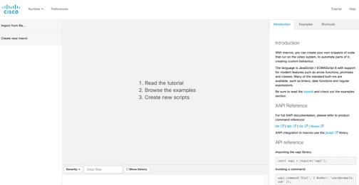 Macro editor menu view