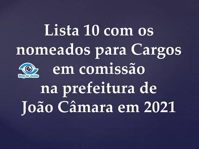 Lista 10 com os nomeados para Cargos em comissão na prefeitura de João Câmara em 2021