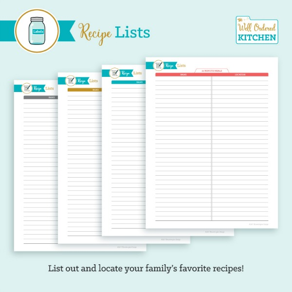 Recipe Lists from The Well Ordered Kitchen Planner.