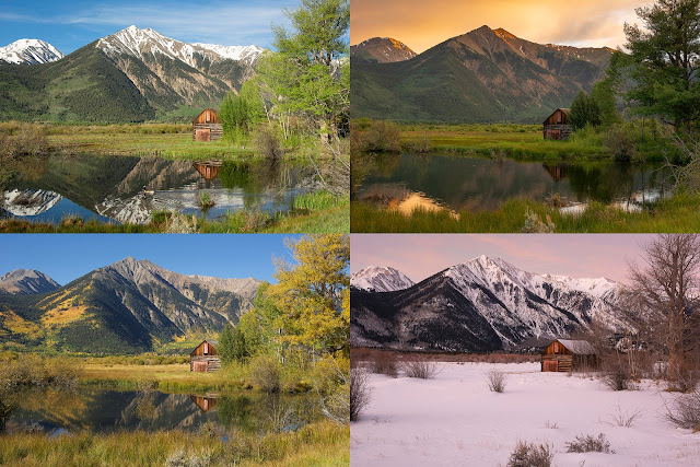 Mountains Cabin 4 seasons four fall summer winter spring collage autumn twin lakes colorado