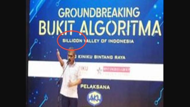 Salah Ketik, Spanduk Groundbreaking Bukit Algoritma Di-bully Netizen: Sok-sokan, Guoblok!