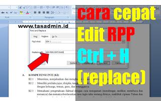 edit RPP pada ms word menu replace