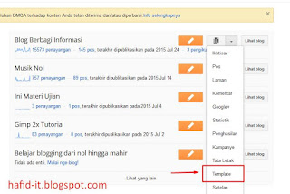 Pilih menu template blogspot