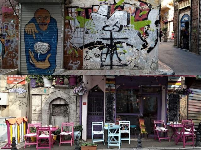 murale e ristorante molto colorato a balat