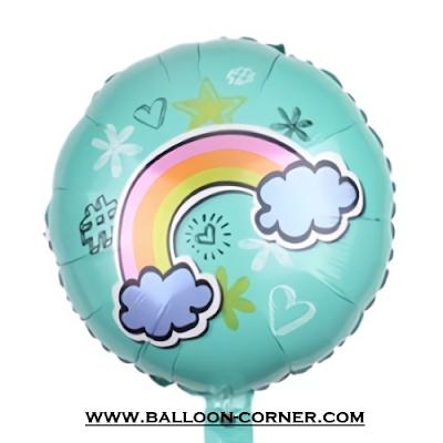 Balon Foil Bulat Awan Pelangi (Biru)